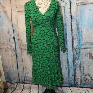 Boden Faux Wrap Dress Long Sleeves Green 2